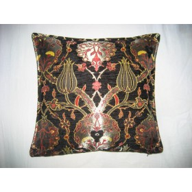 Turkish Chintz Black Cushion Cover