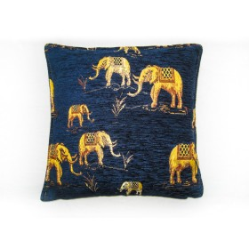Elephants Blue Cushion Cover