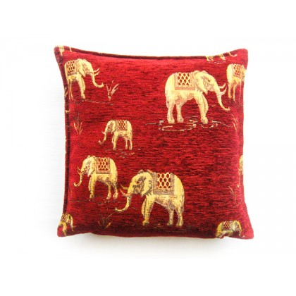 Elephants Red Cushion Cover