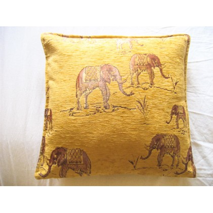 Elephants Gold Cushion Cover
