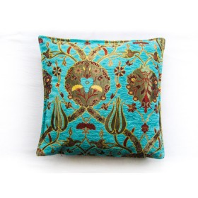 Turkish Chintz Turquoise Cushion Cover