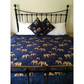 Elephants Blue Throw