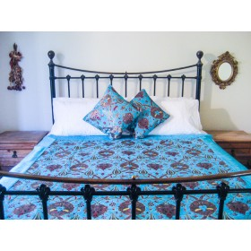 Turkish Chintz Turquoise Throw